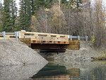 One of the new bridges on Chena Slough in place